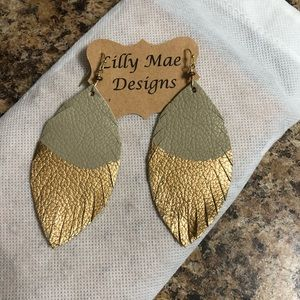 Lilly Mae Leather Feather Earrings
